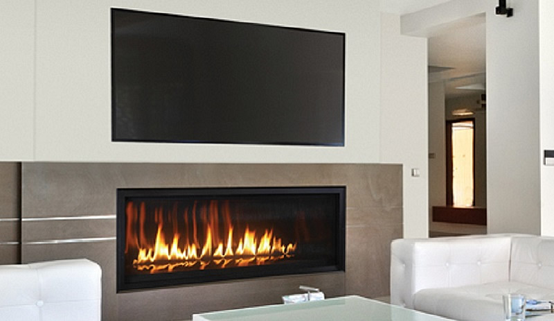 Rhapsody 54 Contemporary Fireplace with Reflective Panels & Floor