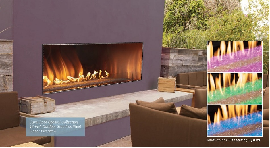 Outdoor Linear Fireplace LED Colors